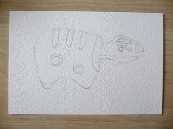 2013年7月4日*色鉛筆画「赤べこ」下描き