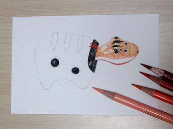 2013年7月4日*色鉛筆画「赤べこ」色塗り中・・・
